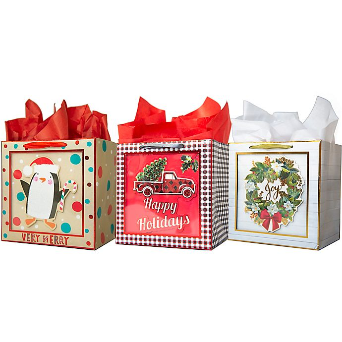 Alternate image 1 for Assorted Small Square Shadow Bags with Tissue Paper