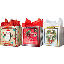 Assorted Small Square Shadow Bags with Tissue Paper