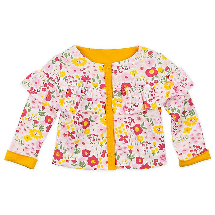 Alternate image 1 for The Honest Company® Newborn Organic Cotton Reversible Ruffled Jacket in Pink