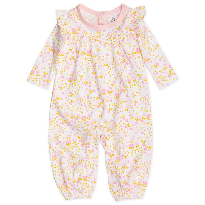 Alternate image 1 for The Honest Company® Organic Cotton Long Flutter Sleeve Coverall in Pink