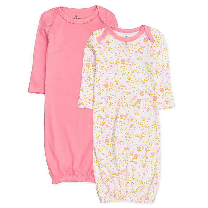 Alternate image 1 for The Honest Company® 2-Pack Organic Cotton Sleeper Gowns in Pink/White