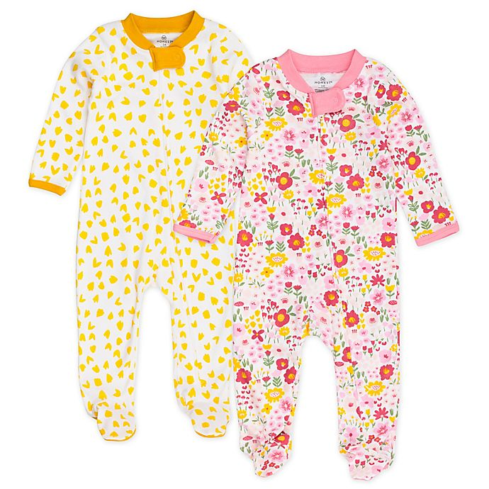 Alternate image 1 for Honest Baby® Size 3-6M 2-Pack Daisy Burst Organic Cotton Footies in Pink/White