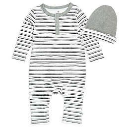 The Honest Company® Size 9M 2-Piece Organic Cotton Henley Coverall and Hat Set in White