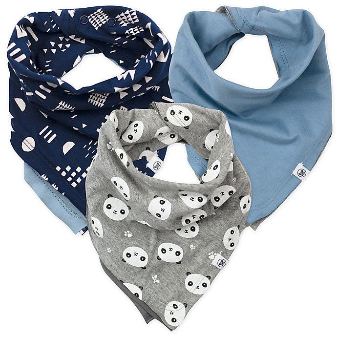 Alternate image 1 for The Honest Company® 5-Pack Organic Cotton Bandana Bib Burp Cloths in Blue/Grey