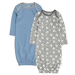 The Honest Company® 2-Pack Organic Cotton Gowns in Grey/Blue
