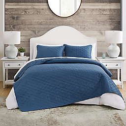 VCNY Home Circle Embossed 3-Piece Quilt Set in Blue