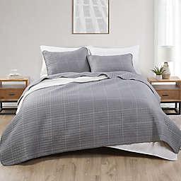 Jade + Oake Grid Embossed 3-Piece King Quilt Set in Grey