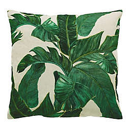 VCNY Home Palm Leaf Square Throw Pillow in White/Green