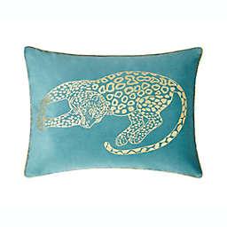 VCNY Home Gold Leopard Velvet Oblong Throw Pillow in Blue/Gold