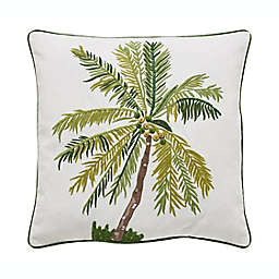 VCNY Home Tropical Palm Square Throw Pillow in White/Green