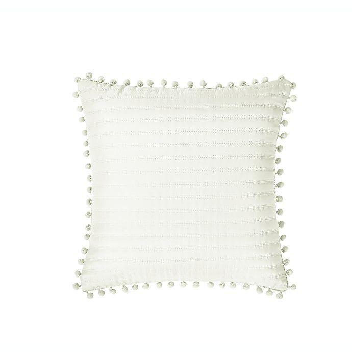 Alternate image 1 for VCNY Home Detriot Pompom Square Throw Pillow in Ivory