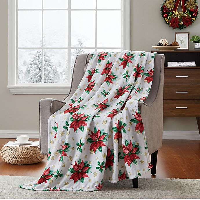 Alternate image 1 for VCNY Home Pointsetta Fun Printed Throw Blanket