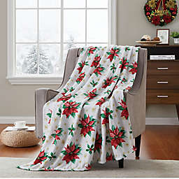 VCNY Home Poinsettia Fun Printed Throw Blanket