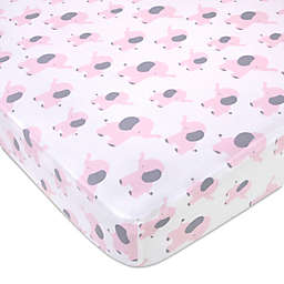 Wendy Bellissimo™ Mix & Match Lil Elephant Crib Sheet in White/Pink