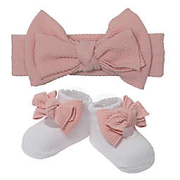 So' Dorable 2-Piece Bow Headband and Bootie Set in Lavender
