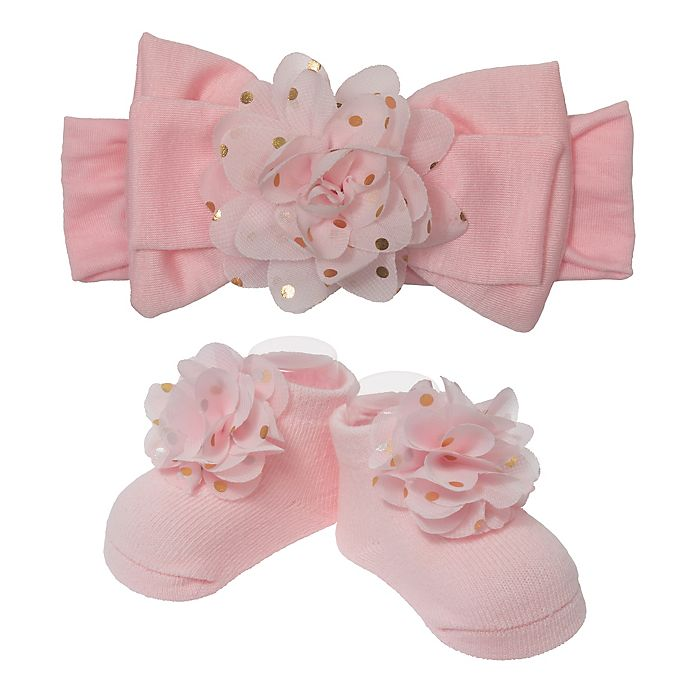 Alternate image 1 for So 'dorable 2-Piece Floral Bow Headband and Bootie Set in Pink