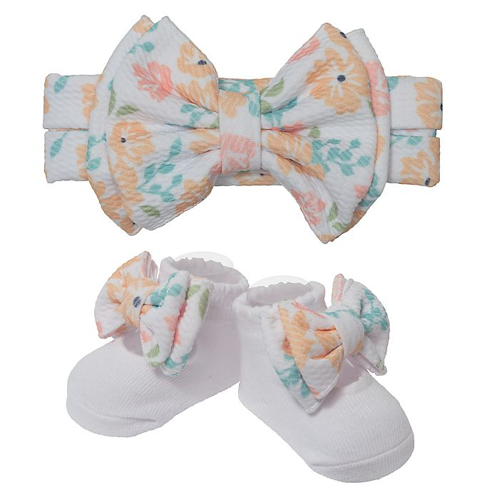 Alternate image 1 for So 'dorable 2-Piece Floral Bow Headband and Bootie Set in Yellow