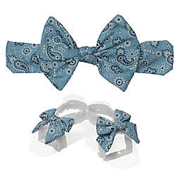 So 'dorable 2-Piece Paisley Bow Headband and Bootie Set in Denim