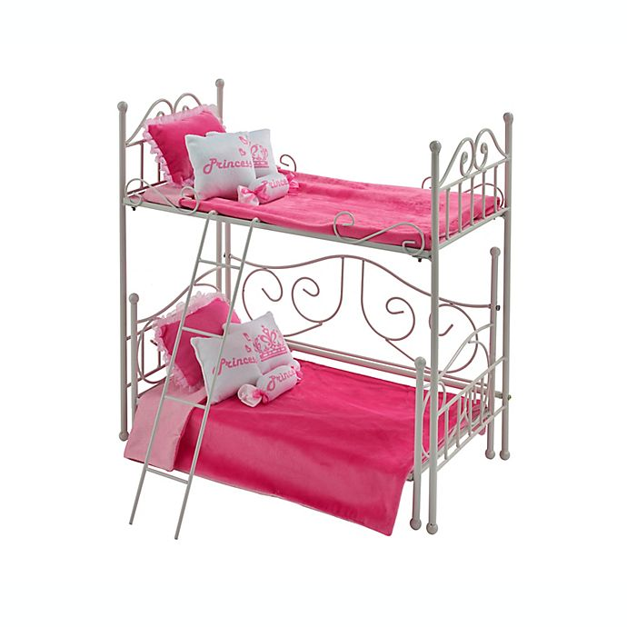 Alternate image 1 for Badger Basket Doll Loft Bed with Daybed and Bedding in White/Pink