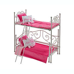 Badger Basket Doll Loft Bed with Daybed and Bedding in White/Pink