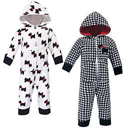Hudson Baby® 2-Pack Scottie Dog Hooded Jumpsuits in Black/White