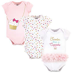 Little Treasure Size 9-12M 3-Pack Cupcake Short Sleeve Bodysuits in Pink
