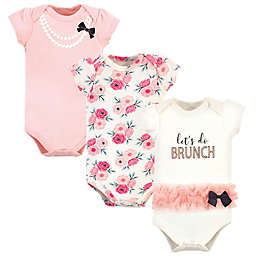 Little Treasure Size 9-12M 3-Pack Let's Do Brunch Short Sleeve Bodysuits in Pink