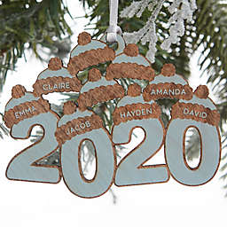 2020 Wood 3.5-Inch 9-Name Personalized Christmas Ornament in Blue