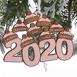2020 Wood 3.5-Inch 9-Name Personalized Christmas Ornament in Pink