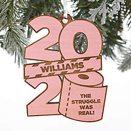 2020 Toilet Paper Roll 3.5-Inch Wood Personalized Christmas Ornament