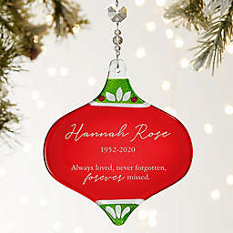 Memorial Engraved 5-Inch Glass Christmas Ornament in Red