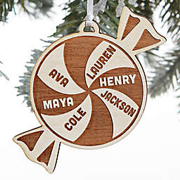 Peppermint Family 3.5-Inch Alderwood 1-Sided Christmas Ornament in Whitewash