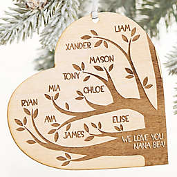 Family Tree Heart 3.75-Inch Personalized Christmas Ornament