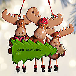 Moose Family 4-Inch Personalized 3-Name Christmas Ornament in Brown