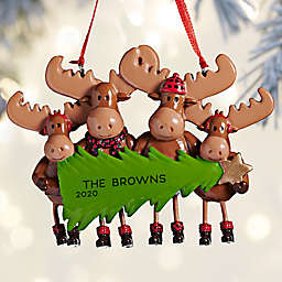 Moose Family 4-Inch Personalized 4-Name Christmas Ornament in Brown