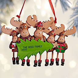 Moose Family 4-Inch Personalized 5-Name Christmas Ornament in Brown