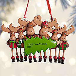Moose Family 4-Inch Personalized 6-Name Christmas Ornament in Brown