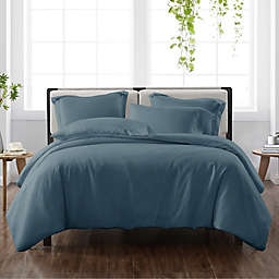 Cannon® Heritage Solid 3-Piece Reversible Full/Queen Duvet Cover Set in Dark Blue