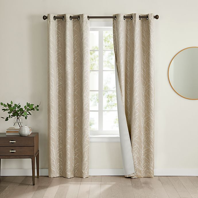 Alternate image 1 for Eclipse Branches 2-Pack Grommet 100% Blackout Window Curtain Panels