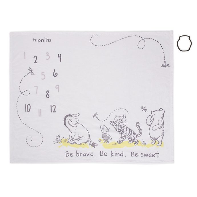 Alternate image 1 for Disney® Classic Winnie The Pooh Milestone Baby Blanket in White