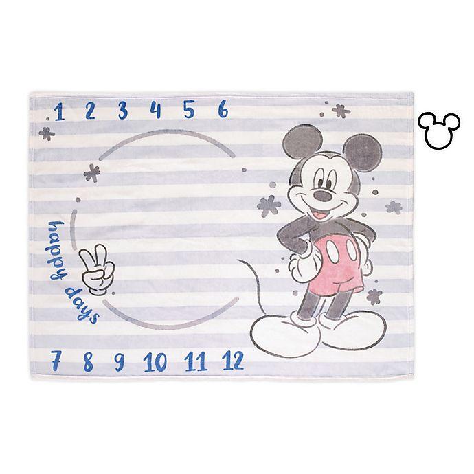 Alternate image 1 for Disney® Mickey Mouse Milestone Baby Blanket in Light Blue