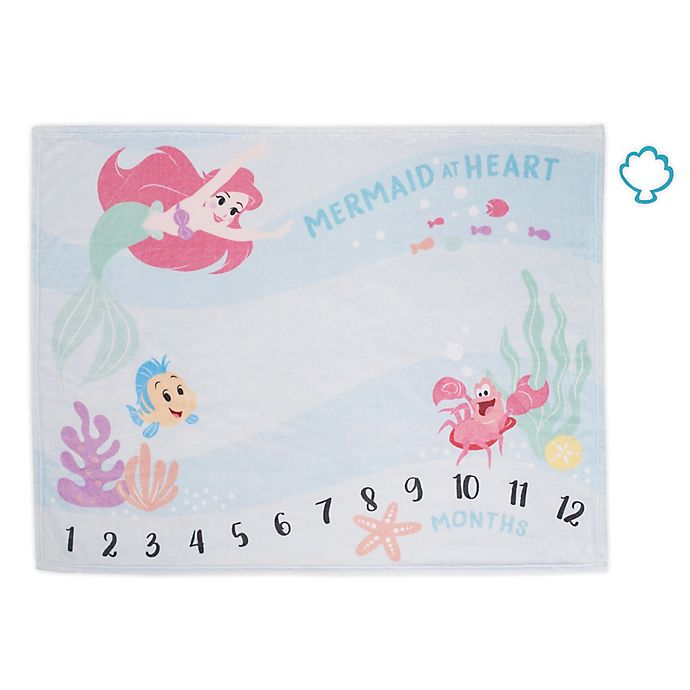 Alternate image 1 for Disney® The Little Mermaid Ariel Milestone Baby Blanket in Aqua