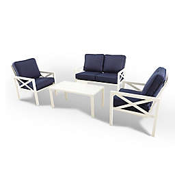 W Home™ Stonington 4-Piece Metal Cushioned Chat Set in White