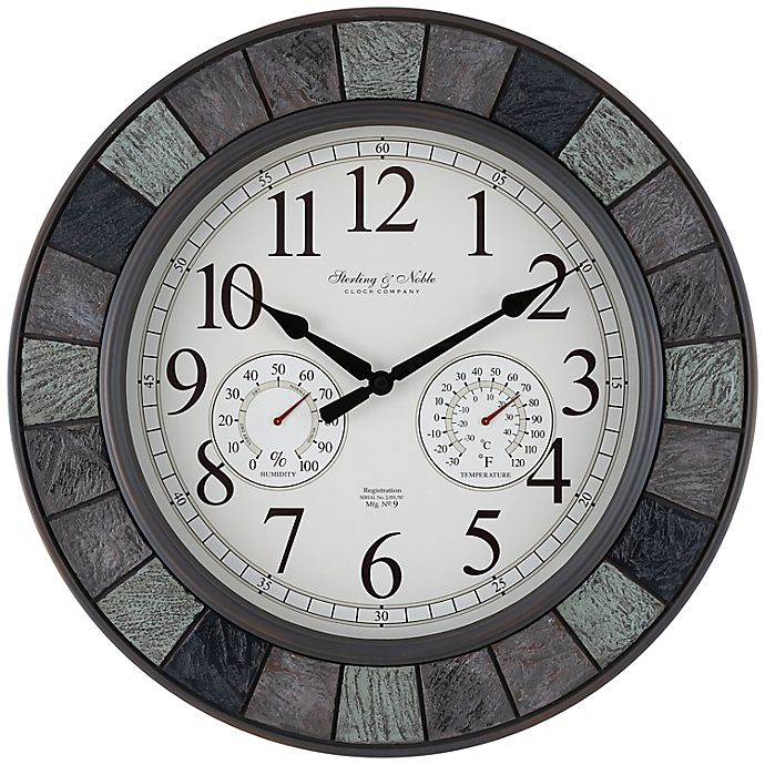 Alternate image 1 for Sterling & Noble™ Faux Slate 20-Inch Outdoor Wall Clock/Weather Station