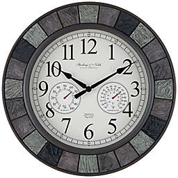 Sterling & Noble™ Faux Slate 20-Inch Outdoor Wall Clock/Weather Station