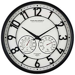 Sterling & Noble™ 26-Inch Outdoor Wall Clock/Weather Station in Satin Black