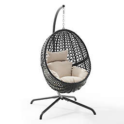 Crosley Calliope Indoor/Outdoor Wicker Hanging Egg Chair in Sand
