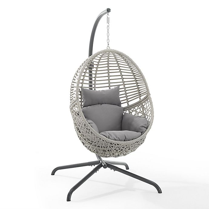 Alternate image 1 for Crosley Lorelei Indoor/Outdoor Wicker Hanging Egg Chair in Grey