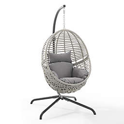 Crosley Lorelei Indoor/Outdoor Wicker Hanging Egg Chair in Grey