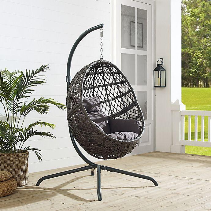 Alternate image 1 for Crosley Tess Indoor/Outdoor Wicker Hanging Egg Chair in Grey